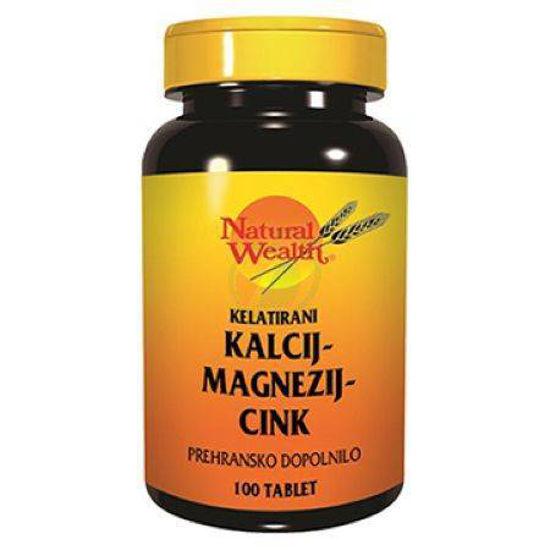 Natural Wealth kalcij, magnezij in cink, 100 tablet