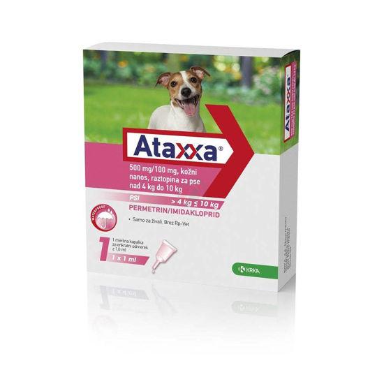Ataxxa 500 mg/100 mg kožni nanos raztopina za pse 4 - 10 kg, 1 mL