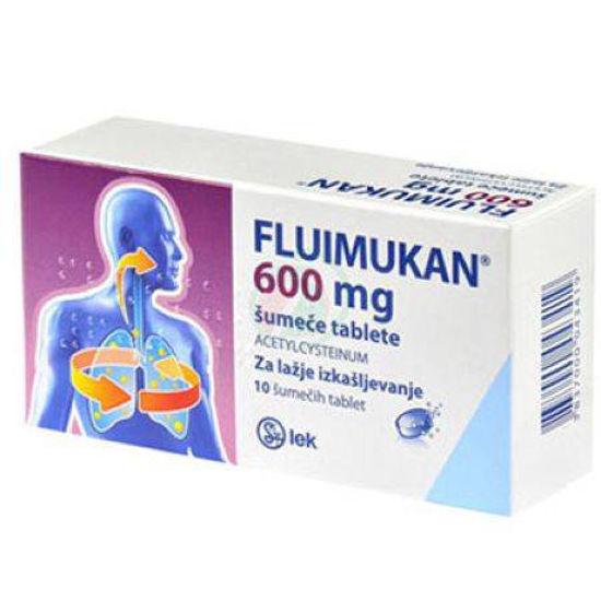 Fluimukan 600 mg, 10 šumečih tablet