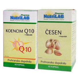 Slika Nutrilab Koencim Q10 kapsule in česnove kapsule, 60 + 60 kapsul