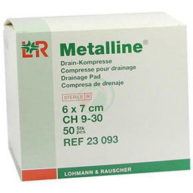 Slika Metalline sterilne alu. komprese velikosti 6x7 cm, 50 kompres