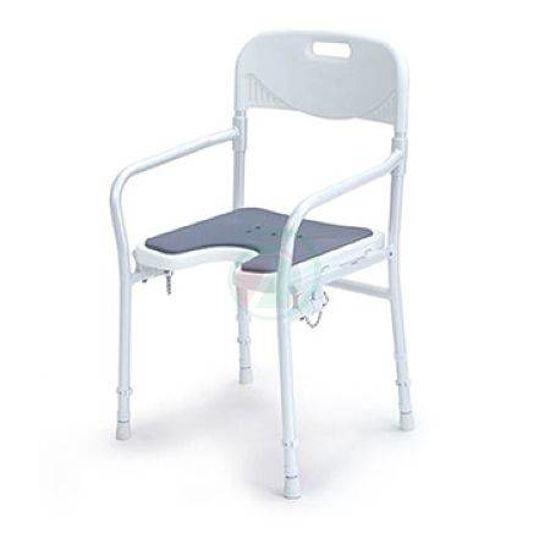 Pripomoček za invalide 9400-A - stol za prhanje z naslonjalom za roke in hrbet