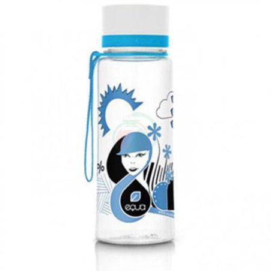 Equa ekološka steklenica z odtenkom/motivom moder obraz, 0,4 L
