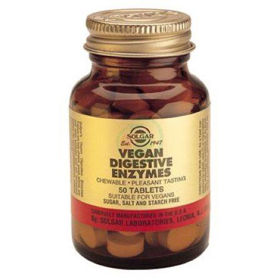 Slika Solgar Prebavni encimi rastlinskega izvora, 50 žvečljivih tablet s sladilom