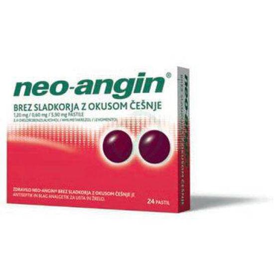 Neo-angin pastile brez sladkorja z okusom češnje, 24 pastil