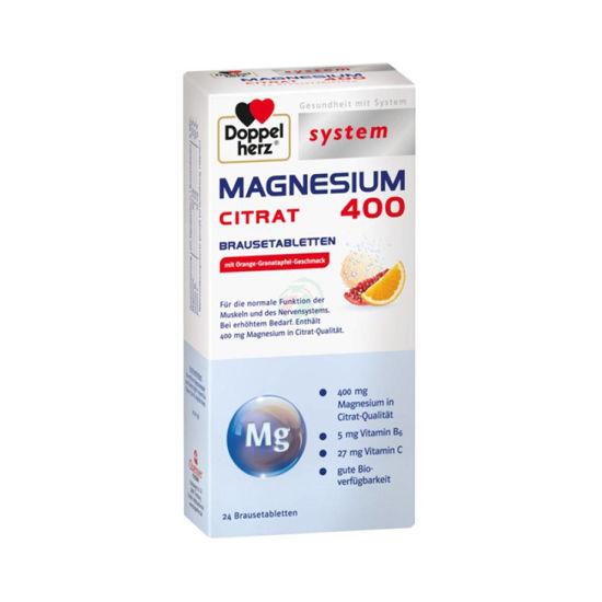 Doppel Herz magnezij 400 citrat, 24 šumečih tablet