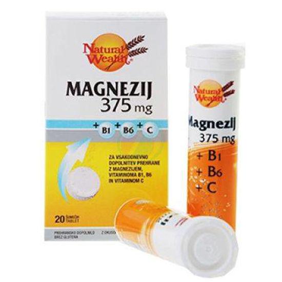 Natural Wealth magnezij 375 mg + vit.C + vit. B1 + vit. B6, 20 šumečih tablet