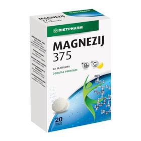 Slika Dietpharm magnezij 375, 20 šumečih tablet z okusom limone