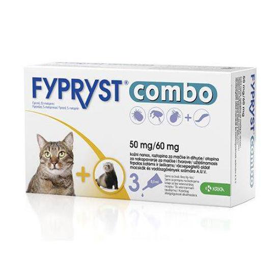 Fypryst Combo 50 mg/60 mg kožne kapljice za mačke in dihurje, 3x0.5 mL