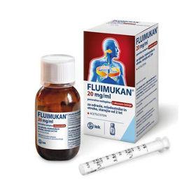 Slika Fluimukan 20 mg/ml peroralna raztopina (sirup) z okusom češnje, 200 mL