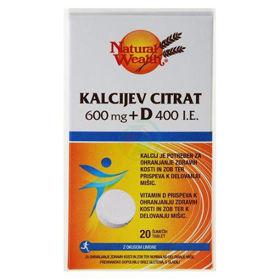 Slika Natural Wealth kalcijev citrat 600 mg + D 400 i.e. z okusom limone, 20 šumečih tablet