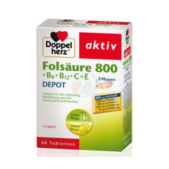 Doppelherz aktiv Folna kislina 800 +B6+B12+C+E DEPO, 60 tablet