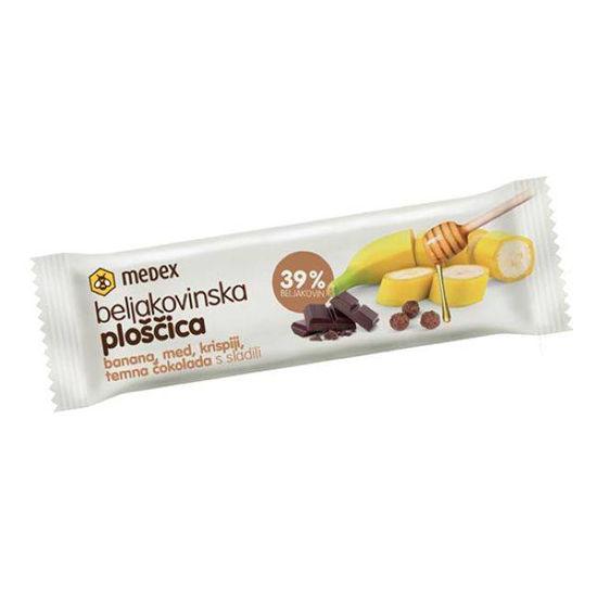 Medex beljakovinska ploščica banana, med, krispiji in temna čokolada, 45 g