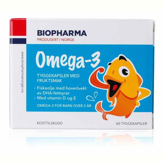 Biopharma omega-3 + D3 + E žvečljive kapsule za otroke, 60 kapsul