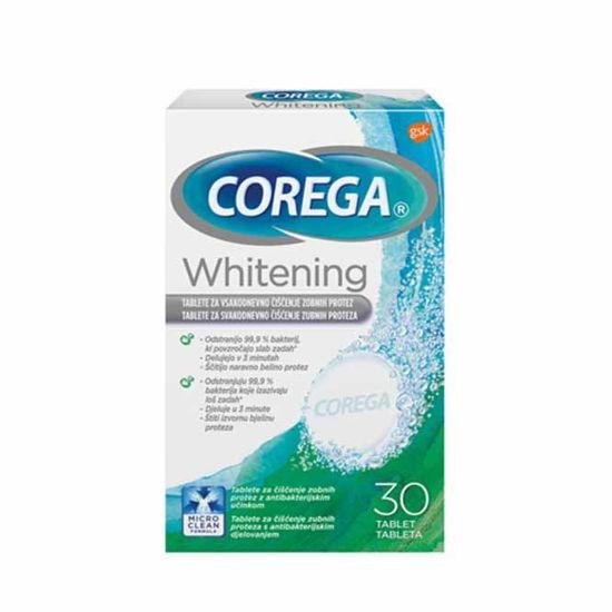 Corega Whitening tablete za čiščenje in beljenje proteze, 30 tablet