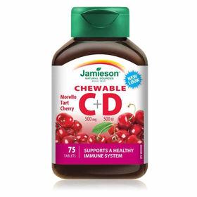 Slika Jamieson vitamin C&D bomboni z naravnim okusom češnje, 75 bombonov