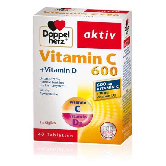 DoppelHerz Aktiv vitamin C 600 + vitamin D, 40 tablet