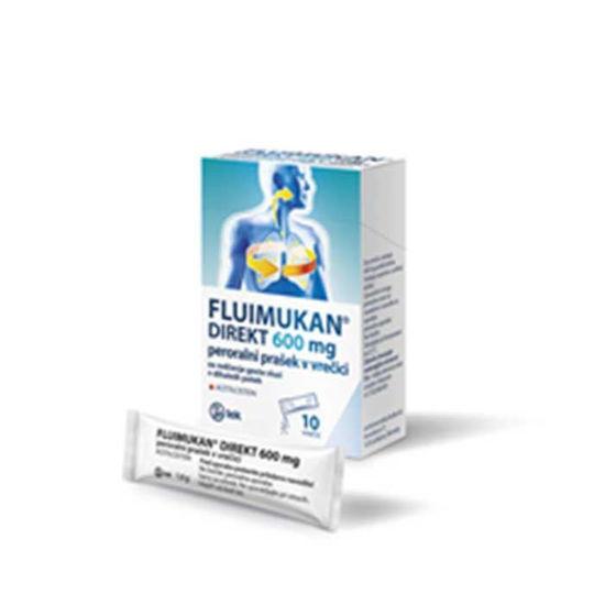Fluimukan Direkt 600 mg prašek, 10x 1.6 g