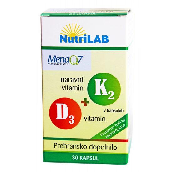 Nutrilab K2+D3 naravni vitamin, 30 kapsul
