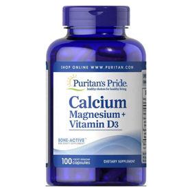 Slika Puritan's Pride Kalcij, Magnezij in vitamin D3, 100 kapsul