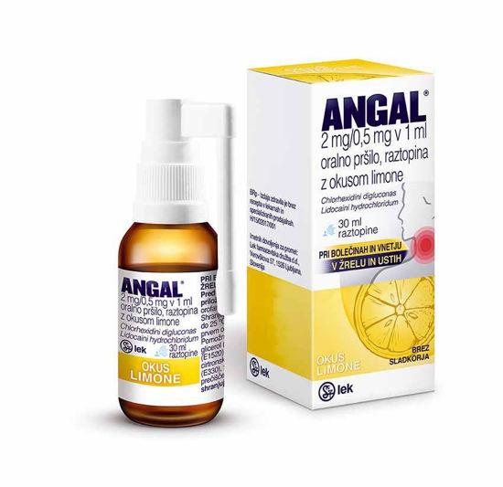 Angal S oralno pršilo/raztopina z okusom limone, 30 mL