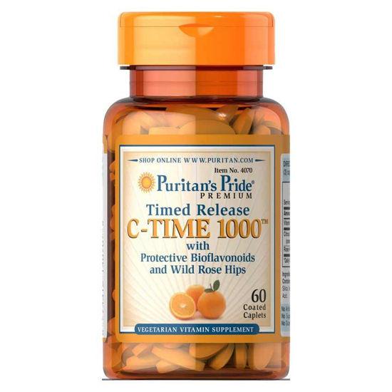 Puritan's Pride C-TIME 1000 mg C vitamin + bioflavonoidi + šipek, 60 tablet