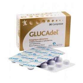 Slika GLUCAdel beta glukan, laktoferin, grozdne peške, ameriški slamnik, šipek in cink, 30 tablet