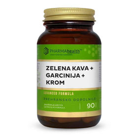 Slika PharmaHealth zelena kava + garcinija + krom, 90 kapsul