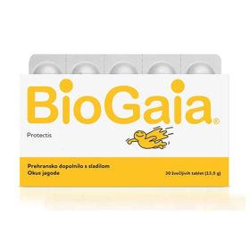 Slika BioGaia ProTectis žvečljive tablete z okusom jagode, 30 tablet (EWOPHARMA GROUP)