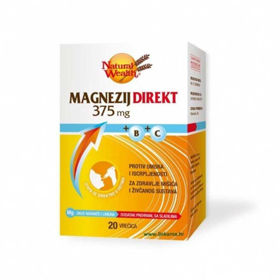 Slika Natural Wealth magnezij direkt 375 mg + B + C, 20 vrečic