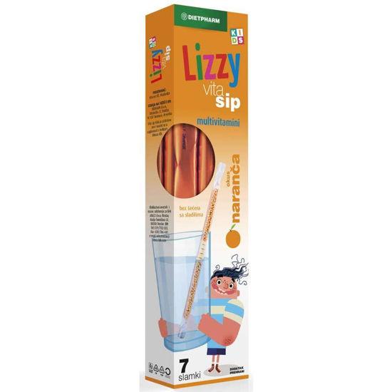 Lizzy Vita Sip Kids multivitamini z okusom pomaranče, 7 slamic z vsebino
