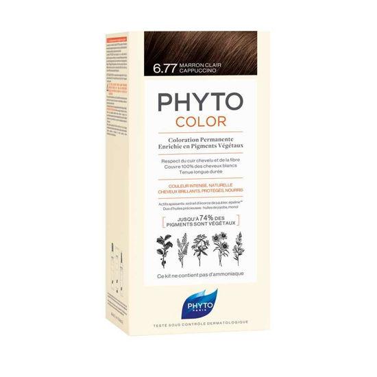Phytocolor 6.77 svetlo rjava kapučino barva za lase, 50 + 50 + 12 mL