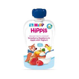 Slika HiPP HiPPis Bio Jabolka, jagode, maline z jogurtom, 100 g