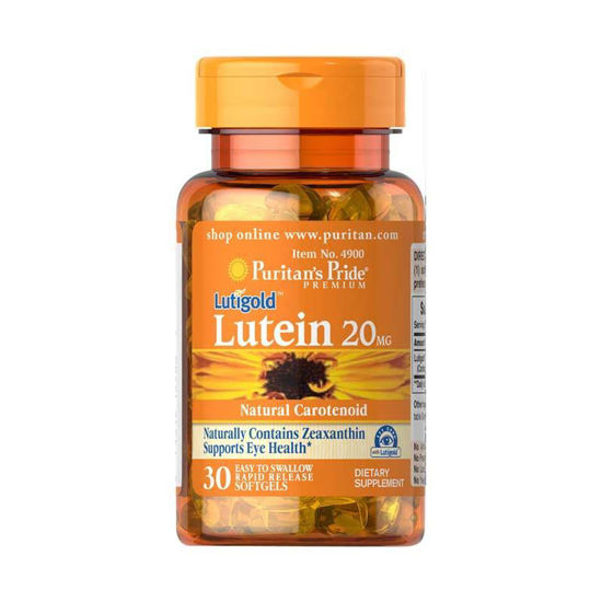 Puritan's Pride Lutigold Lutein 20 mg z zeaksantinom, 60 mehkih kapsul
