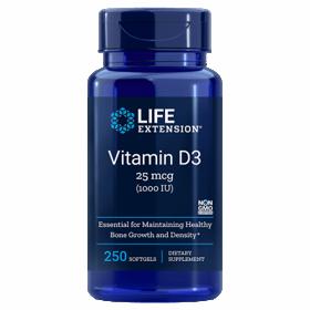 Slika LifeExtension D3 vitamin 1000 IU / 25μg,  90 ali 250 kapsul