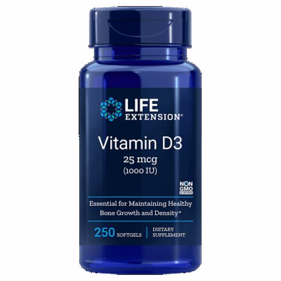LifeExtension D3 vitamin 1000 IU / 25μg,  90 ali 250 kapsul