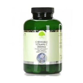 Slika G&G Vitamins Vitamin C 300 mg z okusom češnje in maline, 100 žvečljivih tablet