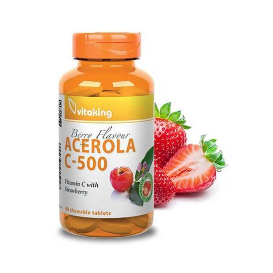 VitaKing Acerola C-500 jagoda, 40 žvečljivih tablet