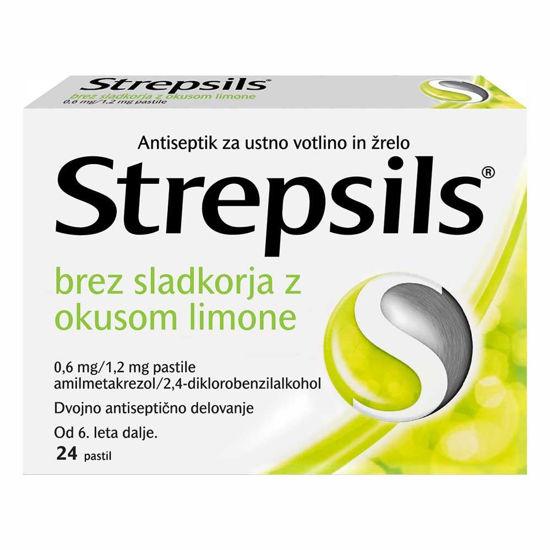 Strepsils pastile brez sladkorja z okusom limone, 24 pastil