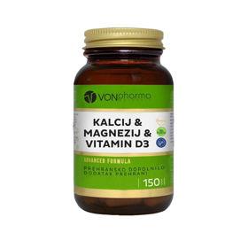 Slika VONpharma Kalcij, Magnezij in D vitamin, 150 tablet