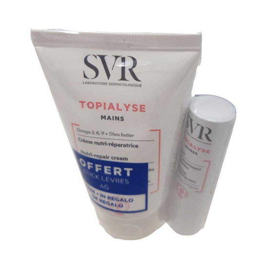 SVR Topialyse DUO pack kremi za roke + gratis Topialyse stik,  2x50 mL + 4 g