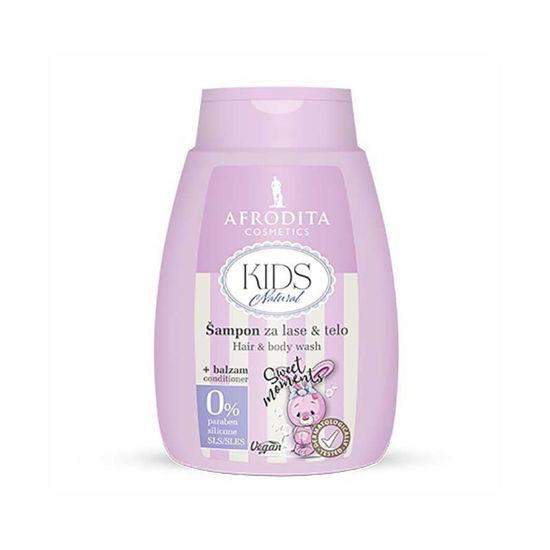 Afrodita Kids Natural šampon za lase & telo + balzam, 200 mL