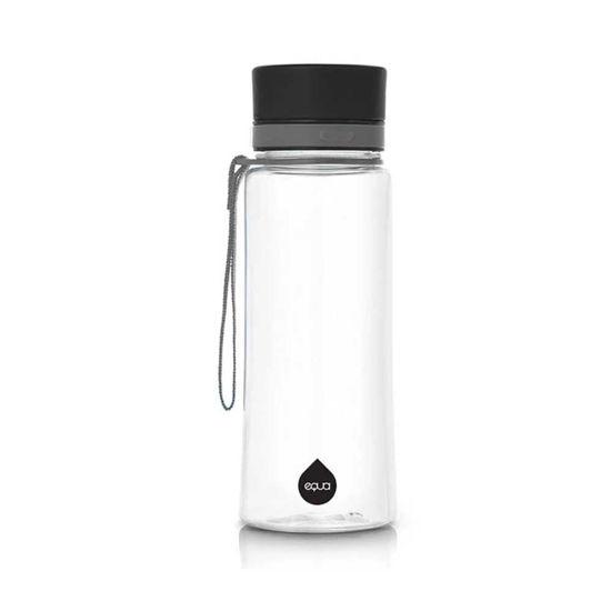 Equa ekološka steklenica z odtenkom/motivom Plain Black, 0,6 L
