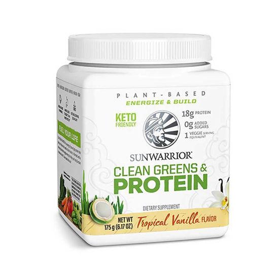 SunWarrior Clean Greens & Protein vanilija presne beljakovine z zelenjavo, 175 ali 750 g