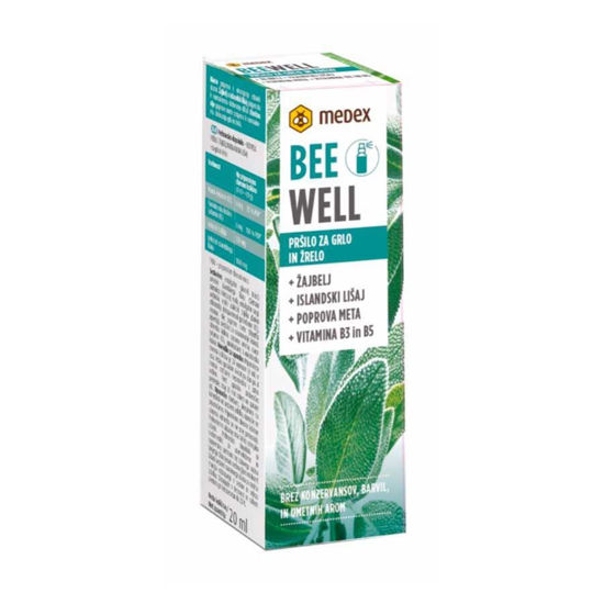 Medex Be Well žajbelj in islandski lišaj pršilo za grlo, 20 mL