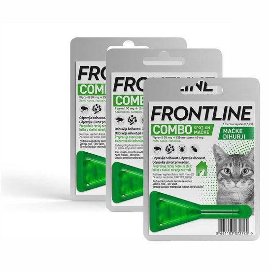 Frontline Combo cat raztopina proti bolham za mačke, 3x0.5 mL