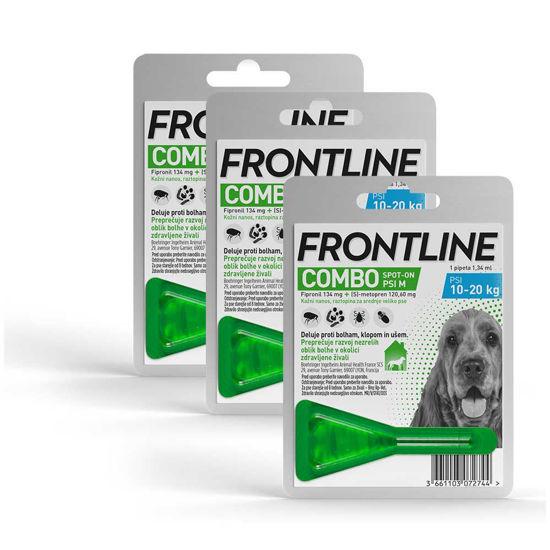 Frontline Combo dog tekočina proti bolham za pse 10-20 kg, 3x1,34 mL