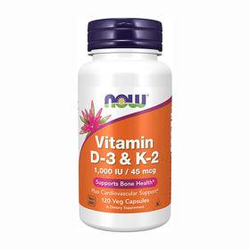 Slika NOW vitamin D3 in K2, 120 kapsul