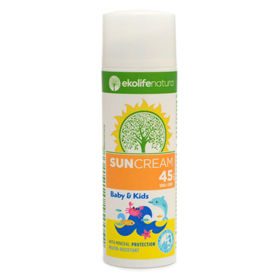 Slika Ekolife Natura 100% naravna sončna krema za dojenčke in otroke ZF 45, 50mL