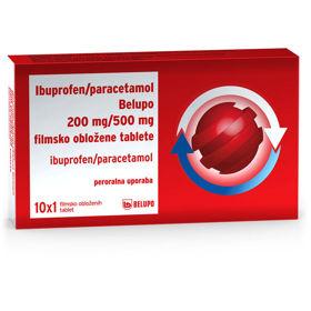 Slika Ibuprofen paracetamol 200 mg/500 mg Belupo filmsko obložene tablete, 10 tablet